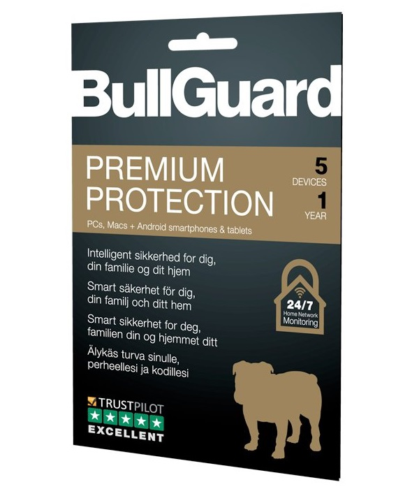 BullGuard Premium Protection 2019 - 1YR/5 Device Multi Device License