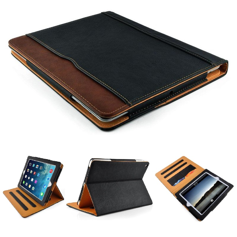 iPad Black & Tan Leather Stand Flip Case 2017/2018
