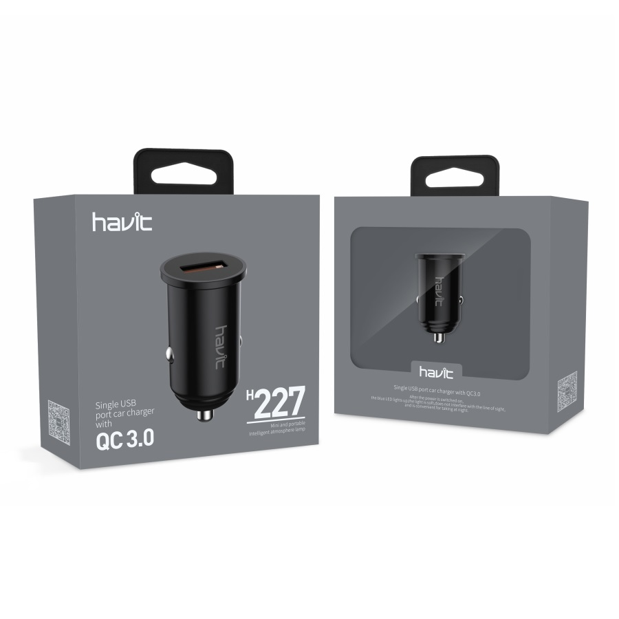 H227 Single USB port car charger with QC 3.0,black